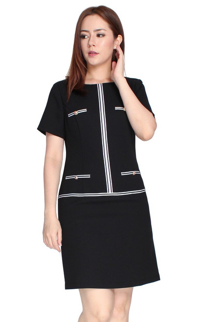 Contrast Trim Shift Dress - Black