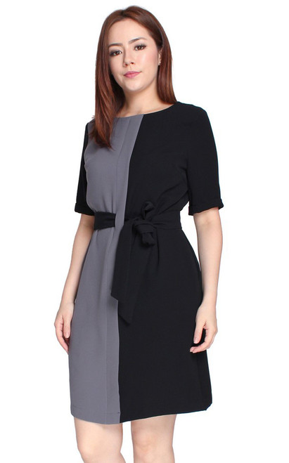 Colourblock Tie Waist Dress - Black