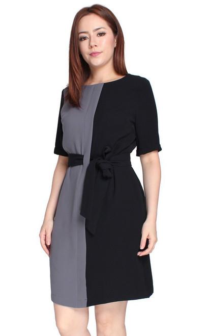 Colourblock Tie Waist Dress - Black