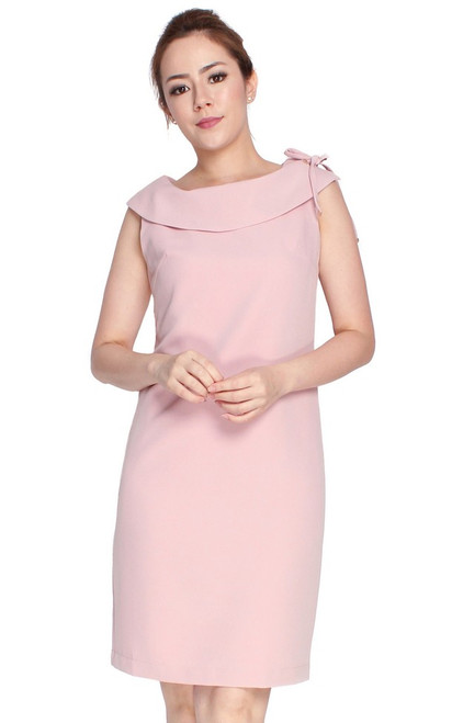 Boat Neck Shift Dress - Dusty Pink