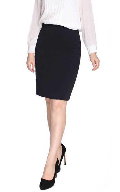 Side Seamed Pencil Skirt - Midnight Blue