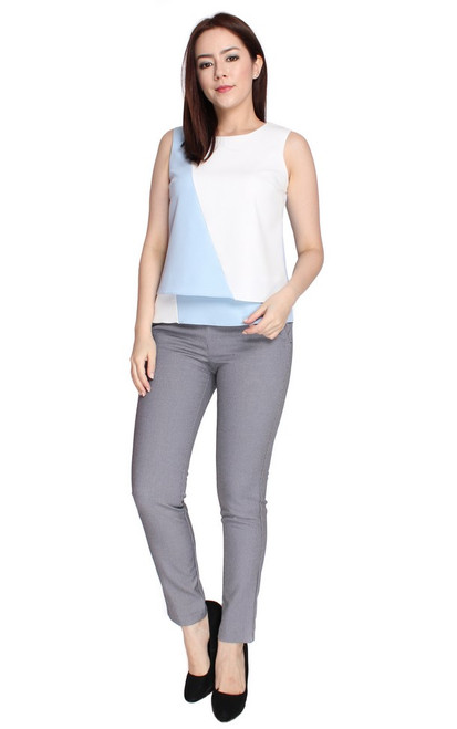 Colourblock Layered Top - Baby Blue