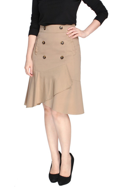 Trench Ruffled Skirt - Sand