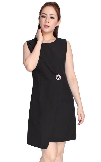 Origami Wrap Dress - Black
