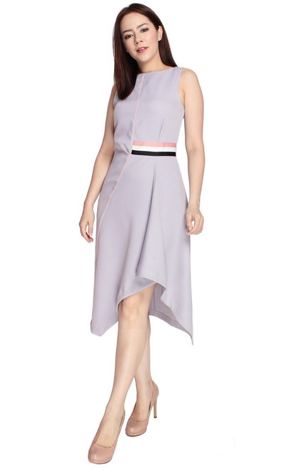 Asymmetrical Drape Dress - Lilac