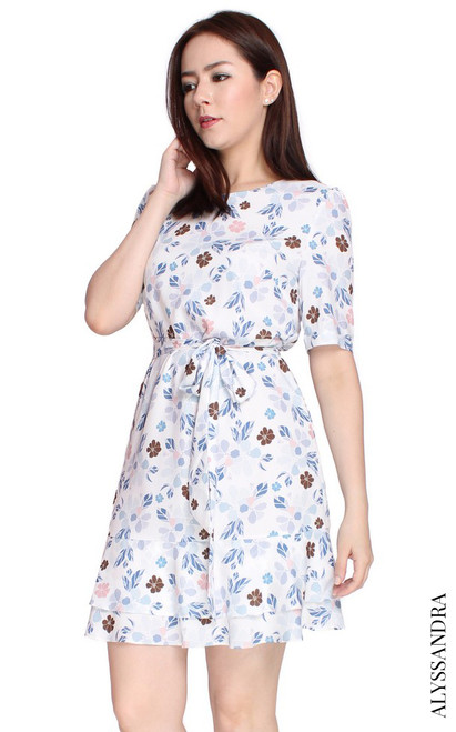 Floral Tiered Hem Dress - White