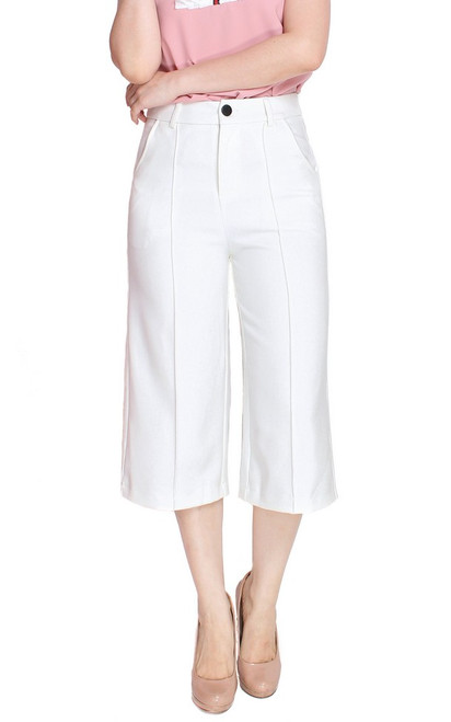Pintuck Culottes - White