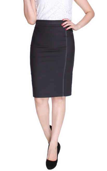 Contrast Stitch Pencil Skirt - Charcoal Grey