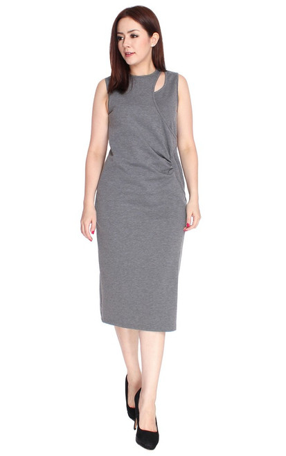 Ruched Keyhole Midi Dress - Heather Grey