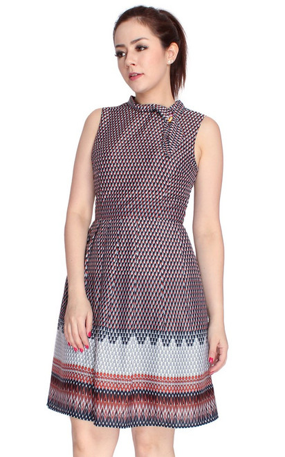 Mosaic Print Dress - Orange