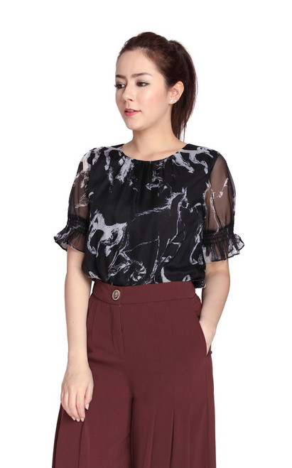 Abstract Print Top - Monochrome