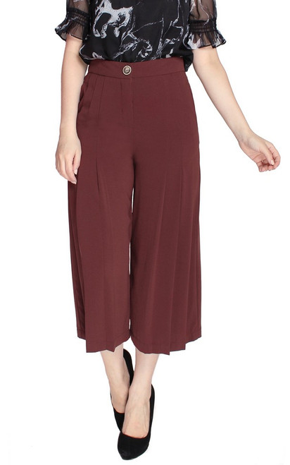 Pleated Culottes - Oxblood