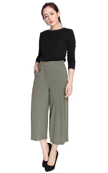 Pleated Culottes - Sage Green