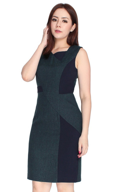 Asymmetrical Tweed Dress - Navy