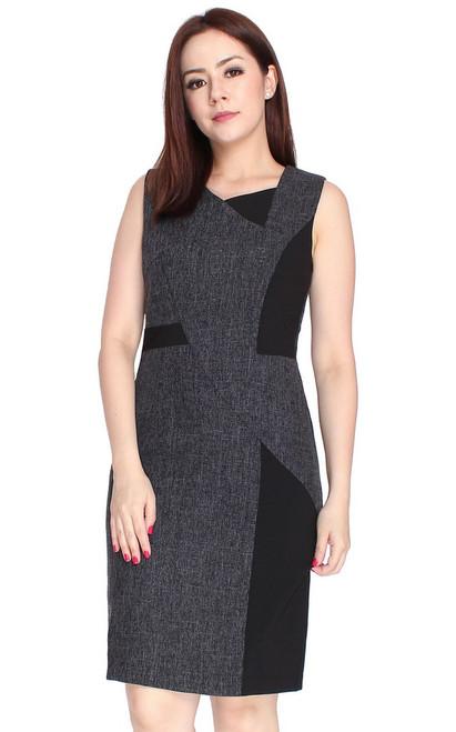 Asymmetrical Tweed Dress - Black