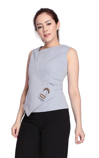 Asymmetrical Grommet Top - Grey