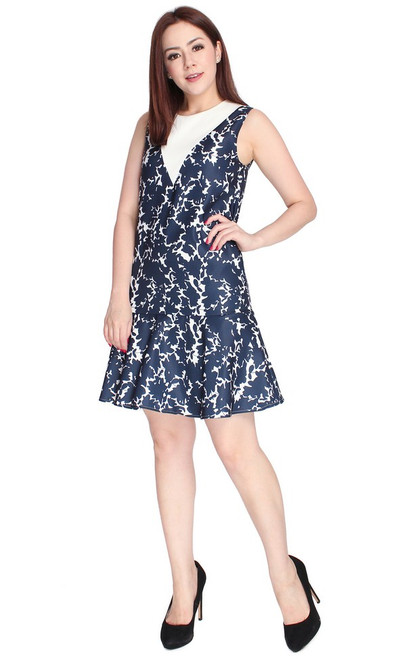V-Panel Printed Drop Waist Dress