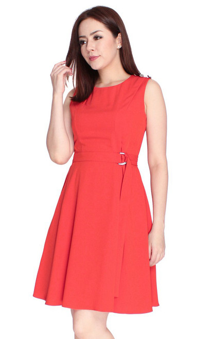 D-Ring Fit & Flare Dress - Vermillion