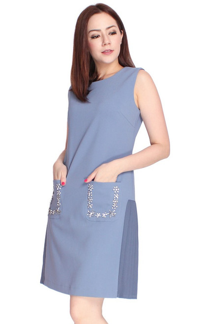 Embellished Side Pleats Dress - Blue
