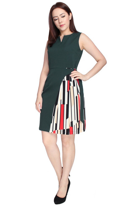 Printed Side Panel D-Ring Dress - Forest Green