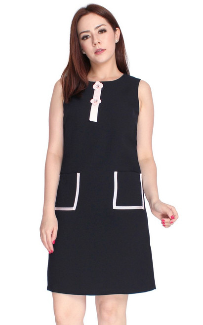 Pocket Shift Dress - Midnight Blue