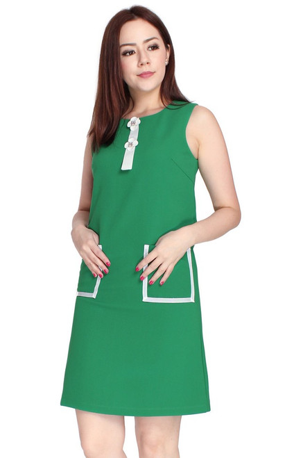 Pocket Shift Dress - Green