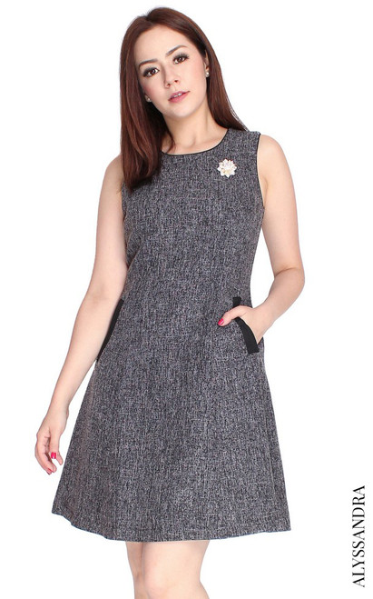 Tweed Flare Dress - Black