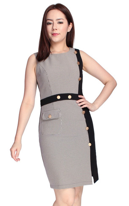 Contrast Panel Pencil Dress - Houndstooth
