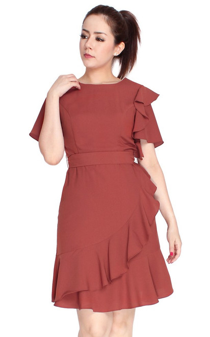 Asymmetrical Ruffled Dress - Terracotta