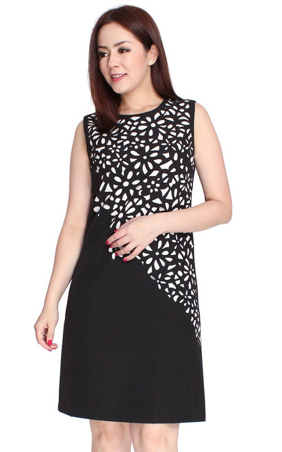 Laser Cutout Shift Dress - Black