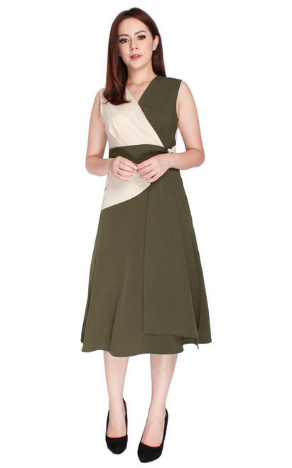Duo Tone Drape Flare Dress - Olive