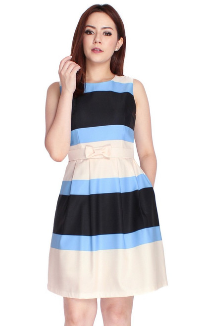 Colourblock Stripes Dress - Blue