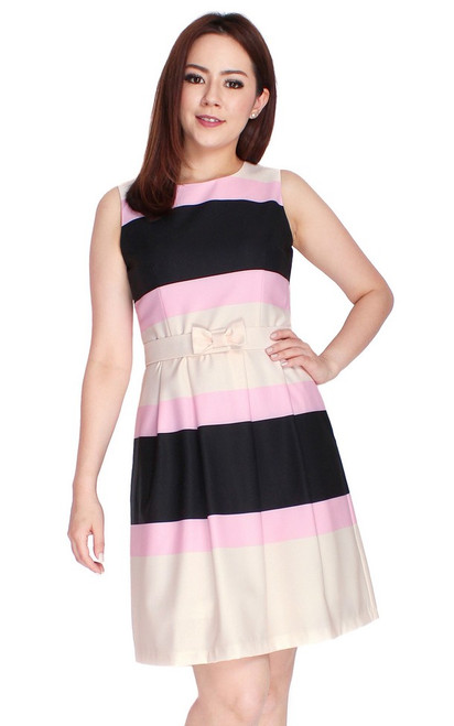 Colourblock Stripes Dress - Pink