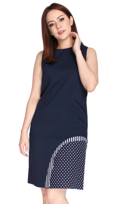 Side Polka Panel Shift Dress