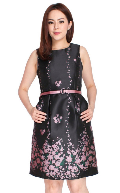 Gradient Floral Brocade Dress