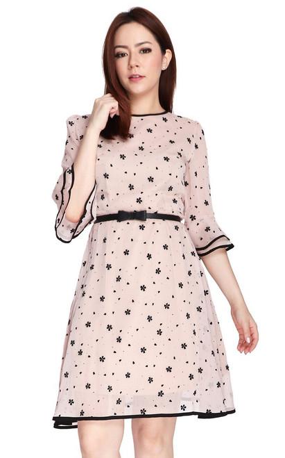Flared Sleeves Chiffon Dress - Cream