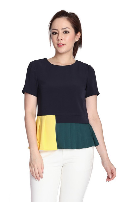 Colourblock Pleated Hem Top - Midnight Blue