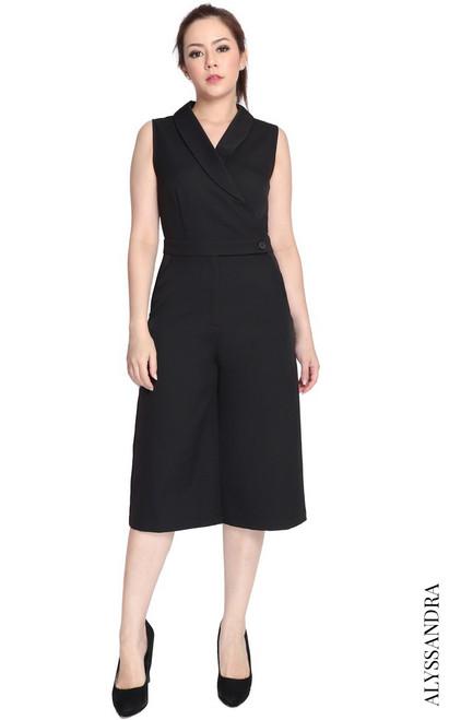 Tuxedo Culottes Jumpsuit - Black