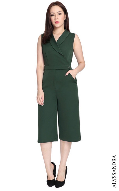 Tuxedo Culottes Jumpsuit - Forest Green