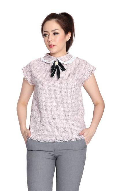 Collared Tweed Top - Pink