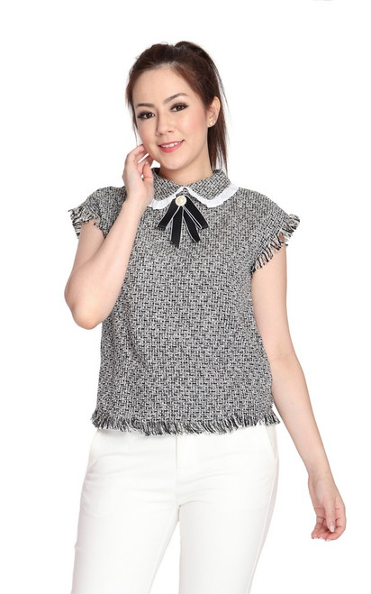 Collared Tweed Top - Black