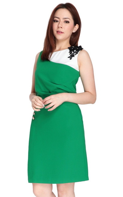 Contrast Side Ruched Dress - Emerald