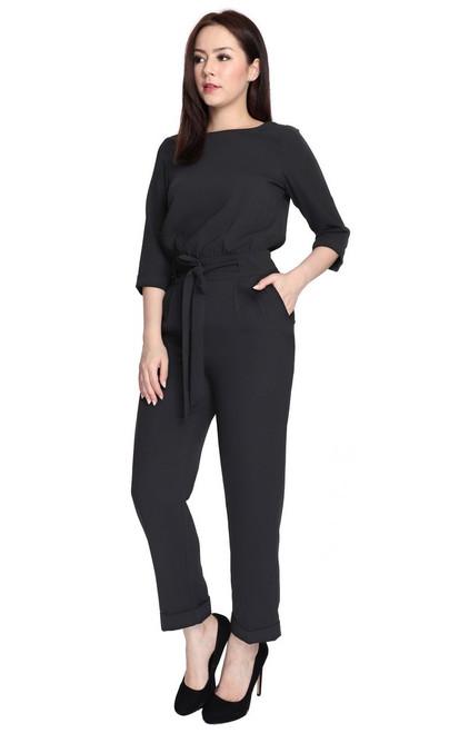 Overlap Back Jumpsuit - Black