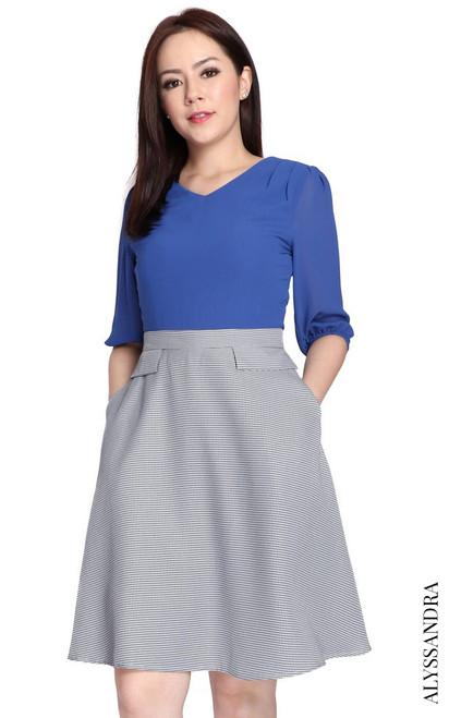 Chiffon Top Flare Dress - Blue