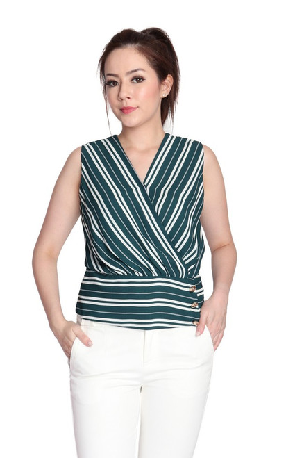 Striped Wrap Over Top - Green