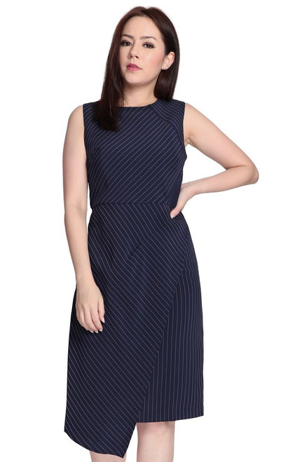 Pinstripe Wrap Over Dress - Navy
