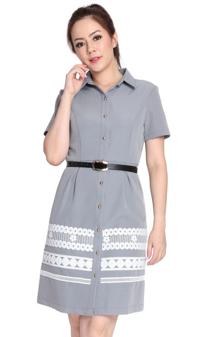 Lace Hem Shirt Dress - Grey