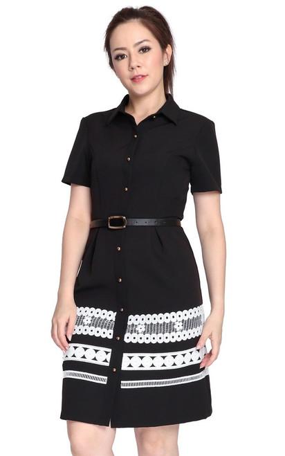 Lace Hem Shirt Dress - Black