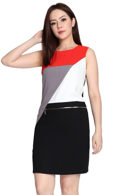 Colourblock Zipper Shift Dress - Red