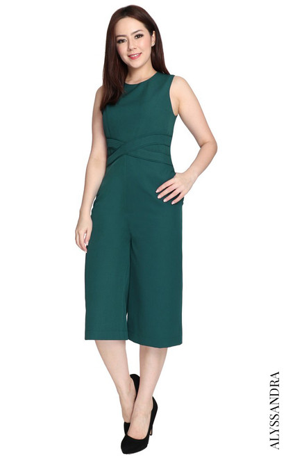 Criss Cross Waist Jumpsuit - Forest Green